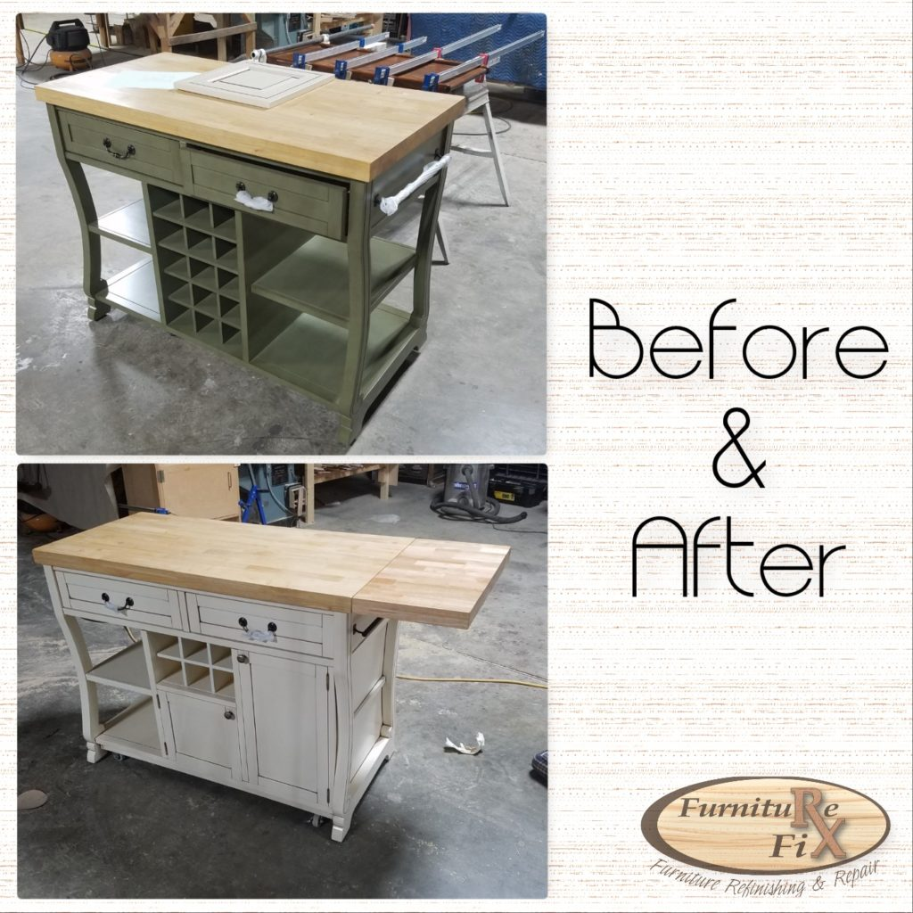 Before and after wine cart