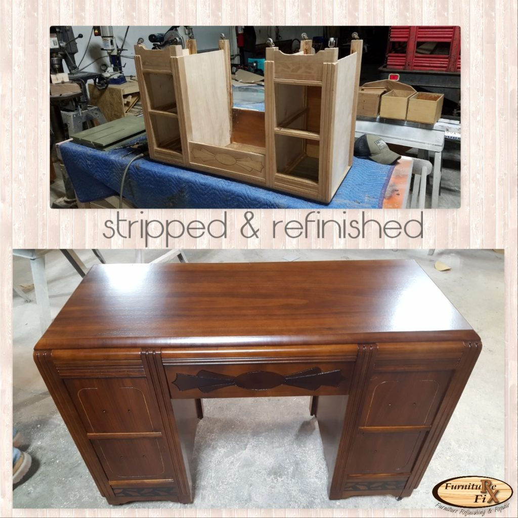 desk stripped and refinished