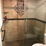Sliding door shower glass enclosure